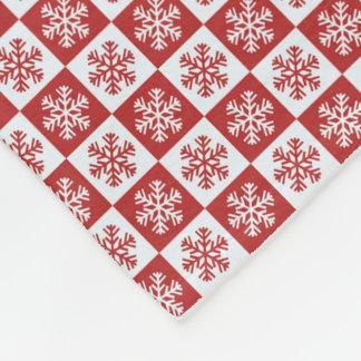 Red White Snowflake Christmas Fleece Throw Blanket
