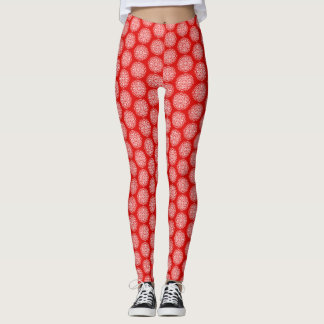 Red White Snowflake Christmas Patterned Leggings