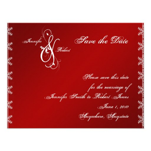 Red White Snowflake Winter Wedding Save the Date Custom Invite