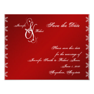 Red White Snowflake Winter Wedding Save the Date 11 Cm X 14 Cm Invitation Card