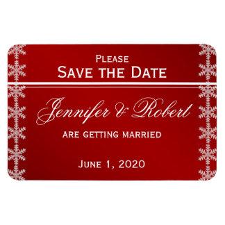 Red White Snowflake Winter Wedding Save the Date Rectangular Photo Magnet