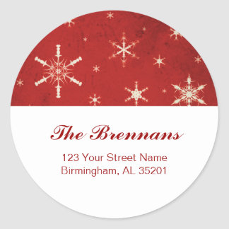 Red & White Snowflakes Christmas Address Labels US Round Sticker