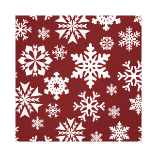 Red White Snowflakes Christmas Holiday Pattern Gallery Wrapped Canvas