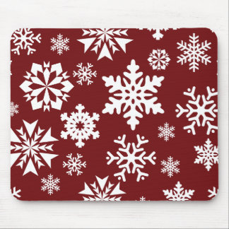 Red White Snowflakes Christmas Holiday Pattern Mouse Pad