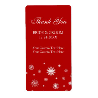 Red White Snowflakes Winter Wedding Labels