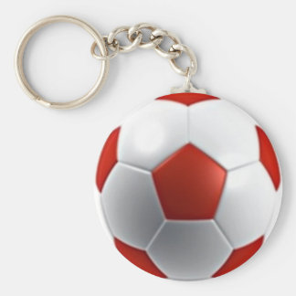 red white soccer ball sports teams fun active keychains