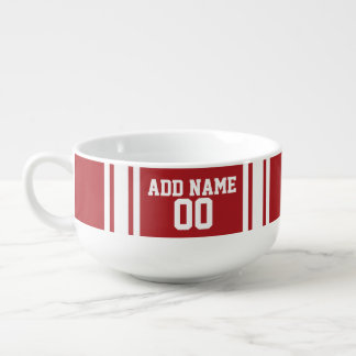 Red White Sports Jersey Custom Name and Number Soup Mug