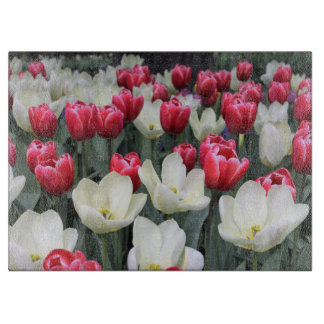 Red & White Spring Tulips Cutting Board