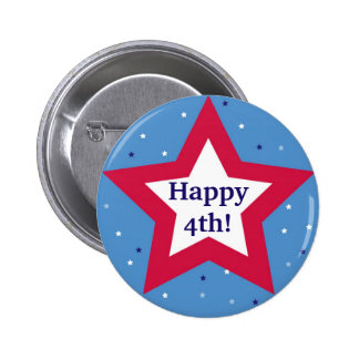 Red white star Happy 4th Independence Day custom 6 Cm Round Badge