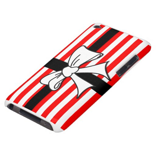 Red White Stripe Bow Case-Mate iPod Touch Case