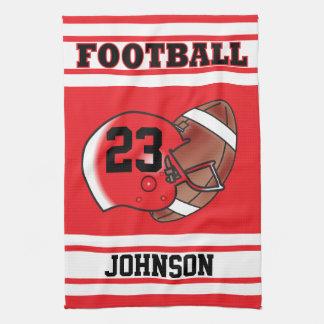 Red & White Stripe Football Jersey Tea Towel