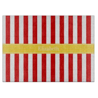 Red White Stripe Pineapple Name Monogram Cutting Board
