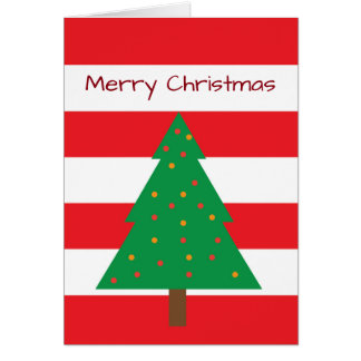 Red & White Striped Christmas Tree Card