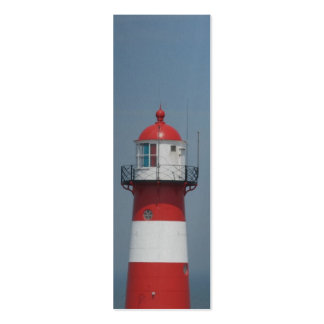 Red White Striped Lighthouse Art Bookmark Double-Sided Mini Business Cards (Pack Of 20)