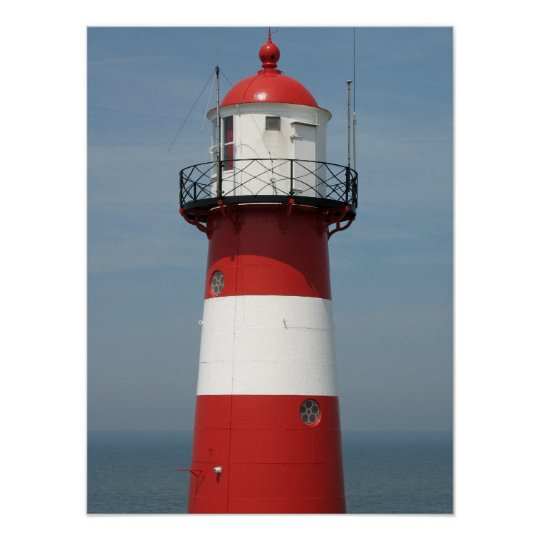 Red White Striped Lighthouse Sea Photo Poster