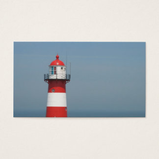 Red White Striped Lighthouse Sea Small Photo Card