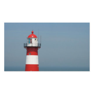 Red White Striped Lighthouse Sea Small Photo Card Business Card Templates