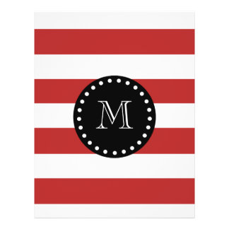 Red White Stripes Pattern, Black Monogram Personalized Flyer