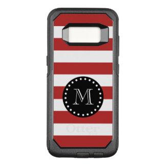 Red White Stripes Pattern, Black Monogram OtterBox Commuter Samsung Galaxy S8 Case