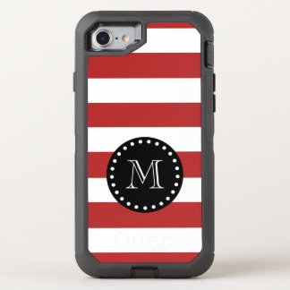 Red White Stripes Pattern, Black Monogram OtterBox Defender iPhone 8/7 Case