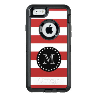 Red White Stripes Pattern, Black Monogram OtterBox Defender iPhone Case