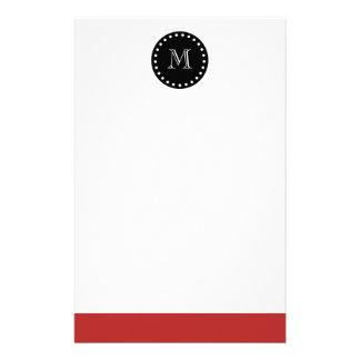 Red White Stripes Pattern, Black Monogram Stationery Design