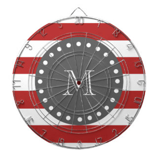 Red White Stripes Pattern, Charcoal Monogram Dartboard