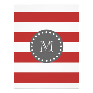 Red White Stripes Pattern, Charcoal Monogram Flyer Design