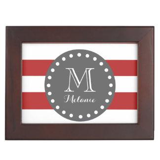 Red White Stripes Pattern, Charcoal Monogram Keepsake Box