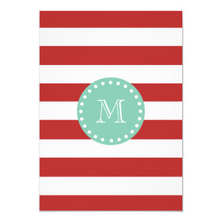 Red White Stripes Pattern, Mint Green Monogram 13 Cm X 18 Cm Invitation Card