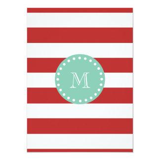 Red White Stripes Pattern, Mint Green Monogram 14 Cm X 19 Cm Invitation Card