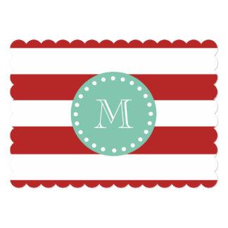 Red White Stripes Pattern, Mint Green Monogram Custom Invitations