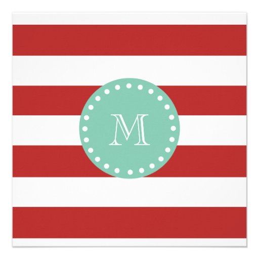Red White Stripes Pattern, Mint Green Monogram Personalized Announcements
