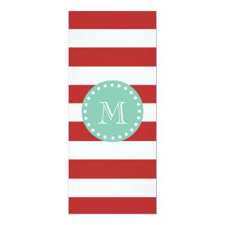 Red White Stripes Pattern, Mint Green Monogram 4x9.25 Paper Invitation Card