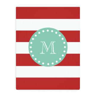 Red White Stripes Pattern, Mint Green Monogram 6.5x8.75 Paper Invitation Card