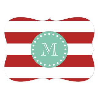 Red White Stripes Pattern, Mint Green Monogram Custom Announcement