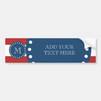 Red White Stripes Pattern, Navy Blue Monogram Bumper Sticker