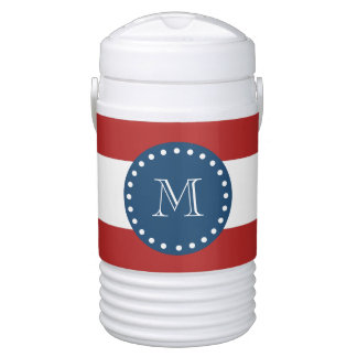 Red White Stripes Pattern, Navy Blue Monogram Drinks Cooler