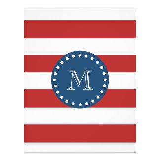 Red White Stripes Pattern, Navy Blue Monogram Custom Flyer