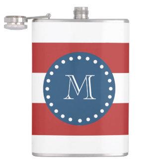 Red White Stripes Pattern, Navy Blue Monogram Hip Flask