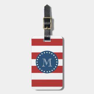 Red White Stripes Pattern, Navy Blue Monogram Bag Tag