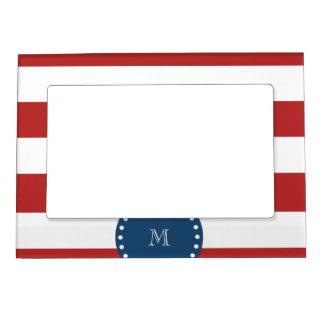 Red White Stripes Pattern, Navy Blue Monogram Magnetic Frame