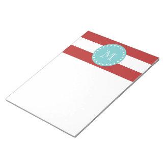 Red White Stripes Pattern, Teal Monogram Notepad