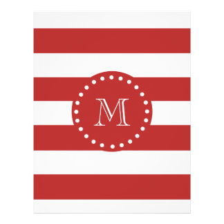 Red White Stripes Pattern Your Monogram Full Color Flyer