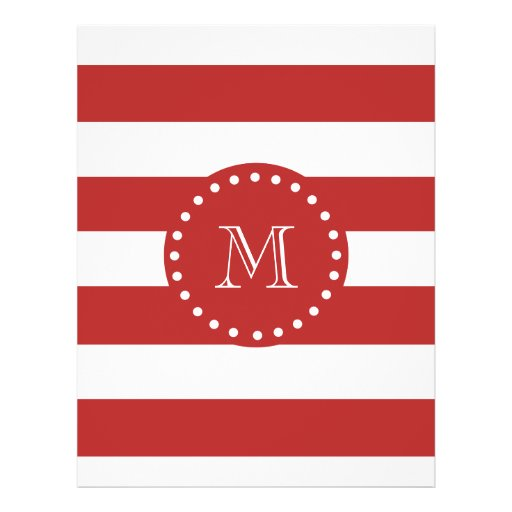 Red White Stripes Pattern, Your Monogram Full Color Flyer