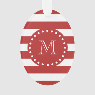 Red White Stripes Pattern, Your Monogram Ornament