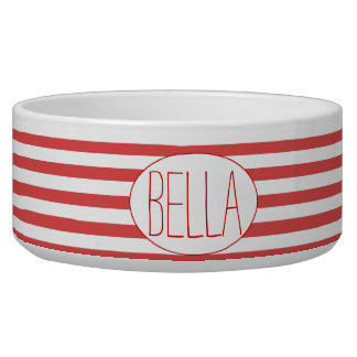 Red & White Stripes Personalized Pet Bowl