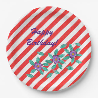 Red White Stripes Purple Flowers Birthday Plates 9 Inch Paper Plate