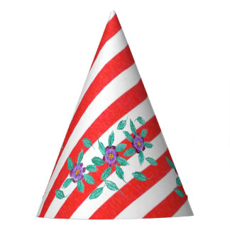 Red White Stripes Purple Flowers Party Hats