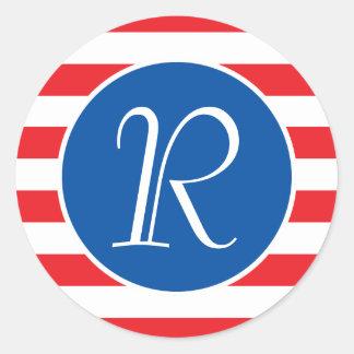 Red & White Strips Classic Round Sticker
